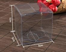 100PCS 5*5*5cm Transparent waterproof Clear PVC boxes Packaging small plastic box storage event&party supplies