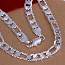 2017 hot 925 sterling silver necklace for man figaro chain 8mm choker necklaces chains 925 fashion silver jewelry 20 inch n018