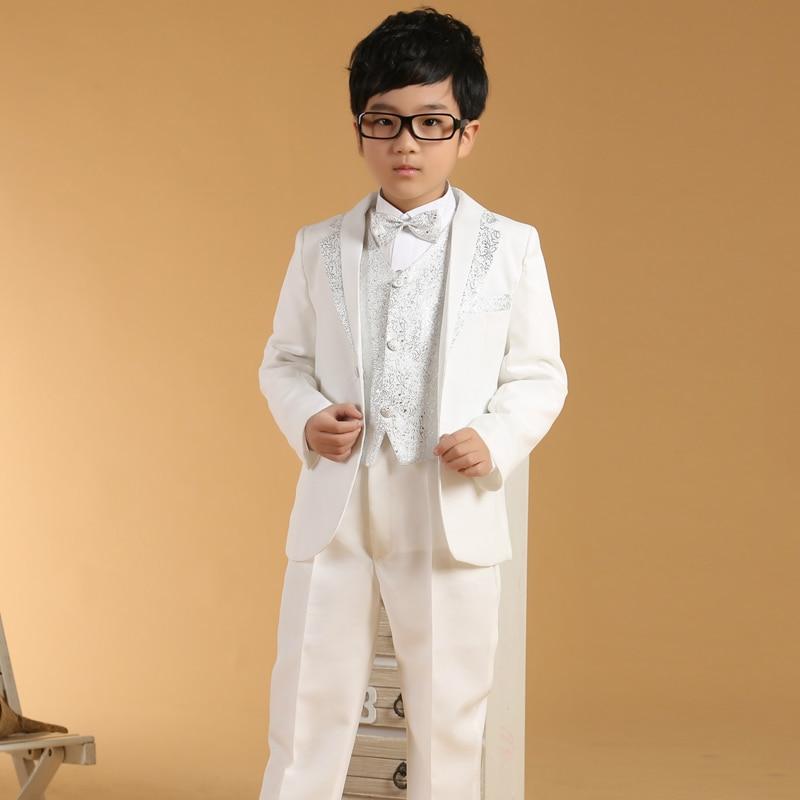White Silver Wedding suits for Boys 6PCS Autumn Clothing sets Kids Tuxedo suit Children Formal Attire Boys White Dress suit<br>