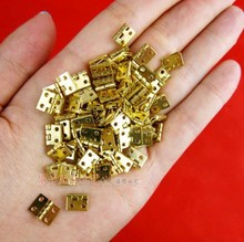 100pcs 10*8  Mini Cabinet Drawer Butt Hinge copper brass gold small hinge 4 small hole copper hinge