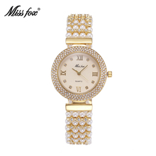 MISSFOX Pearl Watch Women Rhinestone Rome Number Dress Quartz Watches Cute Pearl Metal Bracelet Chain Role Chinese Wrist Watch(China)
