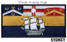 "Sydney, Australia Flag embroidery 3"" wide shipping /Sydney Harbour/white sailing/small craft(China)"