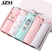 JZH New Arrival 5PCS/Lot M-3XL Women Panties Cute Cotton Intimates Plus Size Print Underpants Summer Soft Underwear Thin Girls