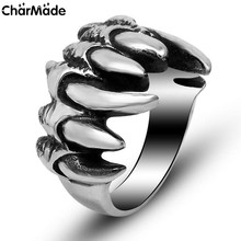 Mens Stainless Steel Grim Bear Claw Ring Antiqeud Carter Biker Jewelry Daunting Warrior Accessories Size 7-11 CharMade R429