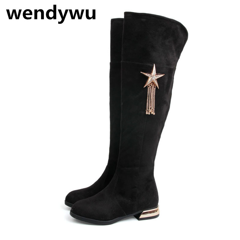 2107 Hot autumn winter over the knee boots for baby girls flock shoes toddler brand red boots children fashion black boots<br><br>Aliexpress