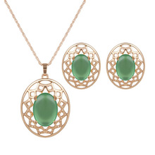 Hot 2pcs Green Crystal Wedding Jewelry Sets Necklace&Earrings For Women Unique Bohemia Gold Color Jewelry Engagement Jewelry