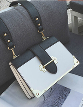 Fashion orgnan color block box bag vintage one shoulder cross-body small bag female small  layer bag x-89*69