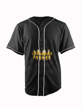 Real American Size  gold teeth 3D Sublimation Print Custom made Button up baseball jersey plus size
