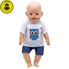 Baby Born Doll Clothes 7 Styles White t-shirt + Pants Skirt Suit Fit 43cm Zapf Baby Born Doll Accessories Christmas Gift 568(China)