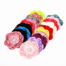 "3.5"" singed multi layer satin fabric flower with pearl button for wome girl headband hair clip wedding flower accessories 480pcs"