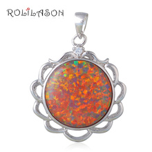 Venus Colorful Charm Necklaces jewellery Round Brown Fire Opal 925 Sterling Silver Pendants Australia OP599