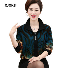 XJXKS Turn-down collar hot sale knitted cardigan high quality long-sleeved women's cashmere sweater Plus size Women coat 8802(China)