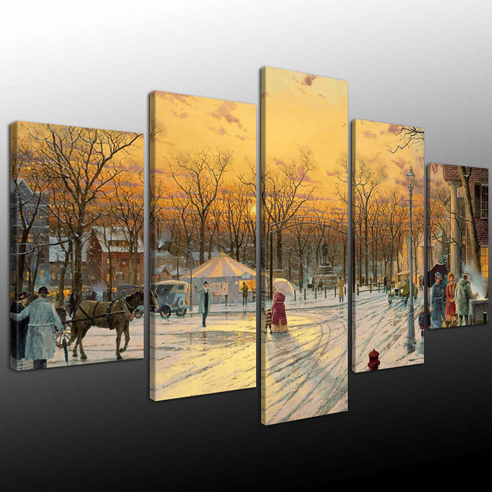 Wall-Art-Home-Decor-Framework-Painting-Canvas-Poster-5-Panel-Tree-Snow-Landscape-For-Living-Room (1)
