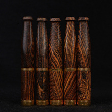 For Sale Natural Ebony Wood Pipe Smoke Double Filter Cigarette Holder Pipes Tiger Skins Patterns Smoking Accessories Smoking