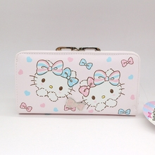 Free shipping Genuine Hello kitty purse money wallet High quality PU European and American style long wallet male