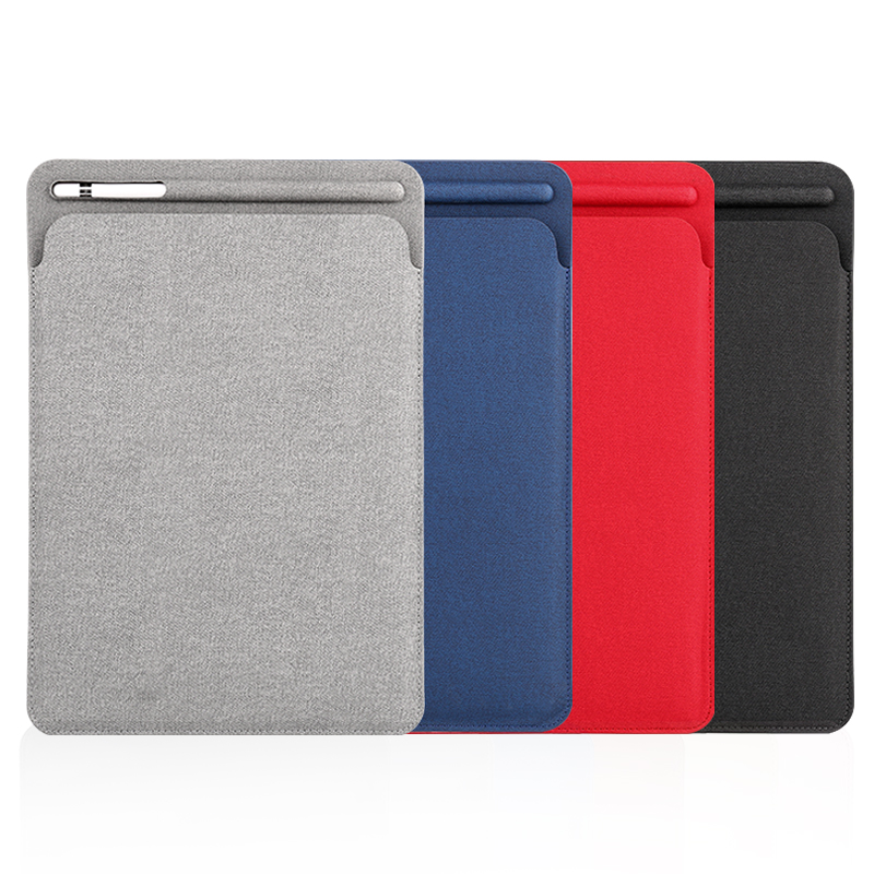 Linen finish Sleeve Case for iPad Pro 10.5 Pouch Bag Cover with Pencil Slot for iPad Pro 9.7 and for new ipad 9.7 2018 Release