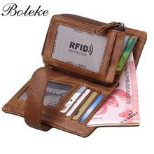 Buy Top Genuine Leather Wallet Men Wallets Luxury Dollar Price Vintage Male Purse Coin Bag RFID Blcoking String Wallet 3582 for $19.99 in AliExpress store