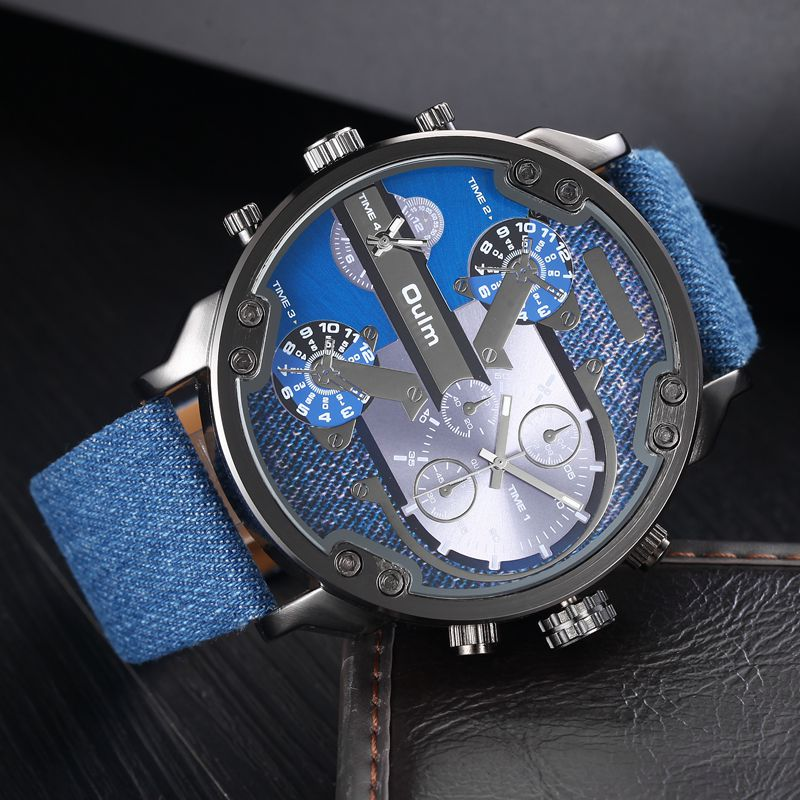 Military Watch Men Watches with Double Movt Numbers and Strips Hours Marks Leather Band Quartz Men Sports Watches Relogio<br><br>Aliexpress