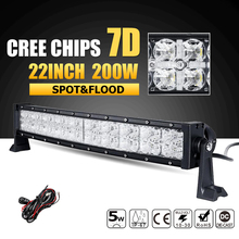 Buy Oslamp 7D Curved 22inch 200W CREE Chips LED Light Bar Combo Beam Led Work Light 12v 24v ATV Truck SUV 4x4 4WD Offroad Led Bar for $129.99 in AliExpress store