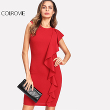 Buy COLROVIE Red One Side Flounce Trim Plain Dress 2018 Round Neck Sleeveless Ruffle Elegant Party Dress Women Short Pencil Dress for $14.99 in AliExpress store