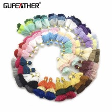 GUFEATHER L81/3.5CM/3 layer/jewelry accessories/jewelry findings/Mini Cotton Tassel/hand made/Earring production/embellishments(China)