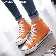 Buy Maggie's Walker Women Fashion Candy-colored Canvas Casual Shoes Lacing Platform High-top Canvas Outdoor Shoes Size 35~44 for $22.99 in AliExpress store