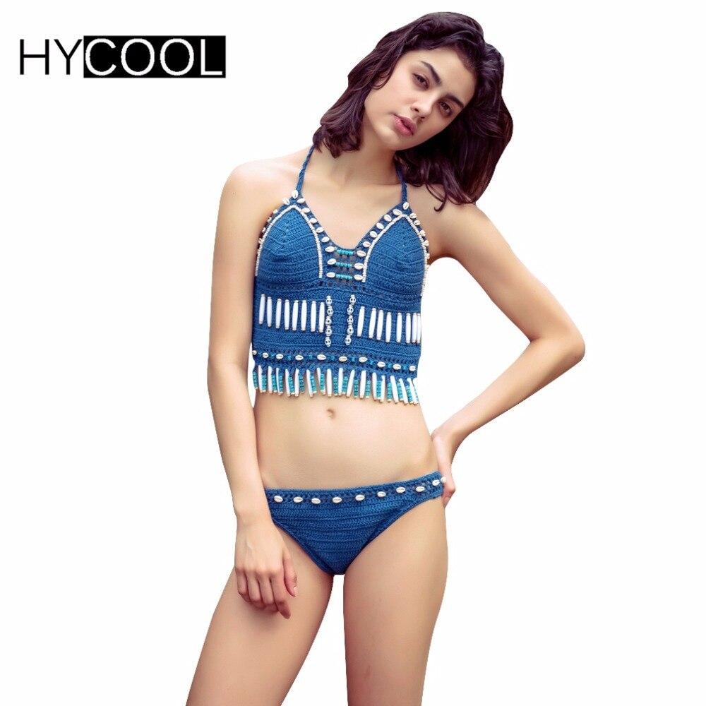HYCOOL Bikini Vintage Handwork Swimsuit 2017 for Women Shell Bead Knitted Crochet Halter Swimwear Pool Party Suit Swim Suit<br>