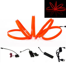 EL Wire Lamp Red 1m/2m/3m/4m/5m Sewing Edge flexible Neon Cold Light Car Decor Dash Board Console With Cigarette lighter Drive(China)