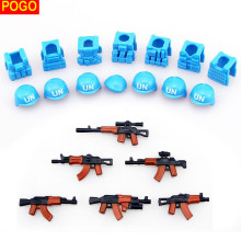 POGO 6pcs guns+7pcs helmet and Beret UN Bulletproof Vest AK Weapons Pack Military Army Bricks Arms For City Police Blocks Toys