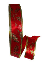 New 100Yards 2'' (50mm) Red Printed Ribbons Christmas Grosgrain Ribbon With Wire On Both side Adornos Navidad 2015