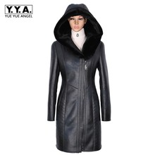 Casual Fashion Womens PU Leather Jacket Zipper Hooded Pockets Plus Size Ladys Winter Coat Jaqueta Motoqueiro Chaqueta Mujer(China)