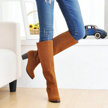 US 4-14 Large size  2012 New yellow Sexy Faux suede women Med heels Casual Fashion boots shoes AJE-1-2