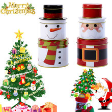 3 Pcs/Set Christmas Santa Claus Snowman Candy Box Gift Biscuit Iron Case Xmas Party Home Decor TB Sale(China)