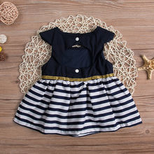 2017 New Newborn Baby Girls Party Princess Pageant Tutu Kids Toddler Navy Blue Dress Baby 0-24M(China)