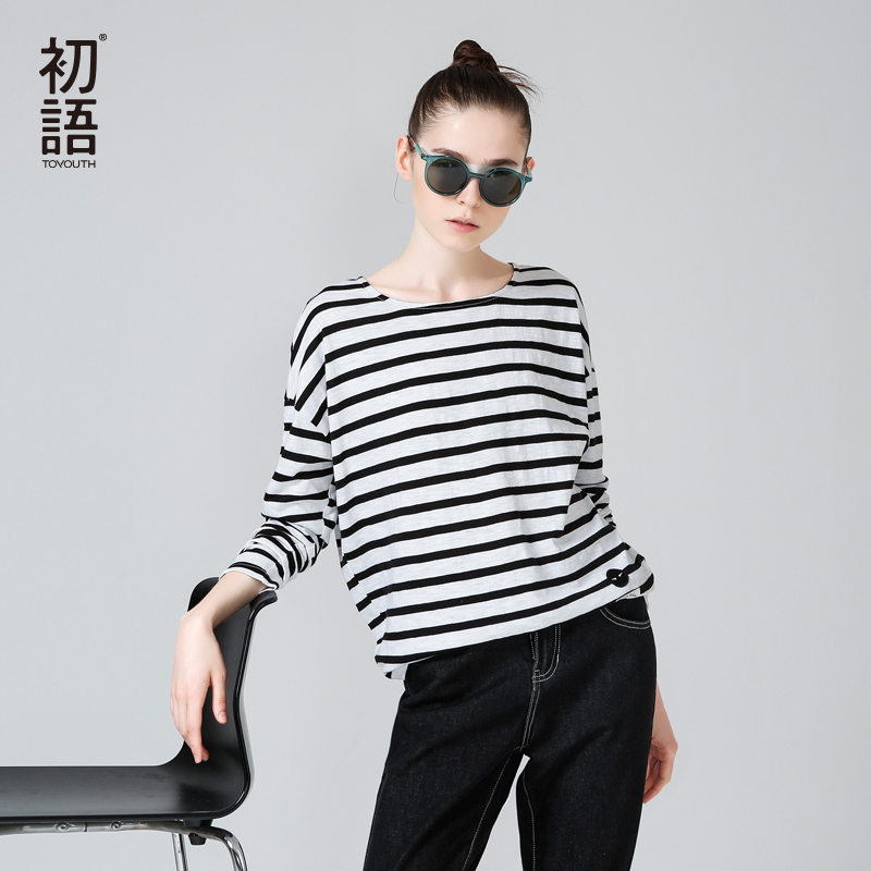Toyouth T-Shirts 2017 Spring Women T-Shirt Stripe Printed Loose Base Casual Long Sleeve O-Neck Tees Tops(China (Mainland))