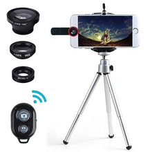 5 in 1 Universal Fisheye Mobile phone Lenses For iphone 6/7 camera Lens Fish Eye +wide +macro +Self Timer tripod +remote control