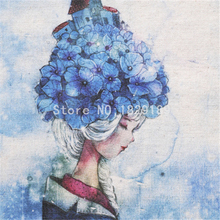 High quality  2 Design Blue flower girl Cotton Linen Fabric For Diy Sewing Patchwork Cloth Hand Bags Decorative Painting