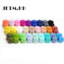 JETM.HH 50pc Hexagon Silicone Beads Teething 14mm Baby Biting Bead Teeth Necklace Bead Diy Chewable Silicona Denticion Jewelry(China)