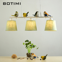 BOTIMI Birds LED Pendant Lights For Dining Rooom Fabric Lampshades Hanging Light E27 Suspension Bar Lamp Cords Lighting Fixture(China)