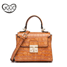 Europe and the United States style lock buckle leather handbags head cowhide Kelly bag handbag shoulder Messenger crocodile patt