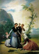 Free shipping 100% hand painted most famous artists painting reproduction goya oil painting Spring-(The-Flower-Girls)