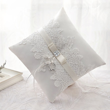 Western Style NEW Elegant Rose with Lace Butterfly Diamond Wedding Ring Box Favors Gift Ring Pillow Cushion Wedding decoration(China)