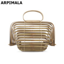 ARPIMALA 2017 Beach Bags Women Large Straw Bag Summer Hollow Out Tote Luxury Designer Bamboo Handbags Big Travel Clutch