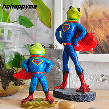 Frog Ornament Boutique Novelty Home Decoration Resin Crafts Frog Creative Animal Toys For Kids Frog Ornament In Superman Costume(China)
