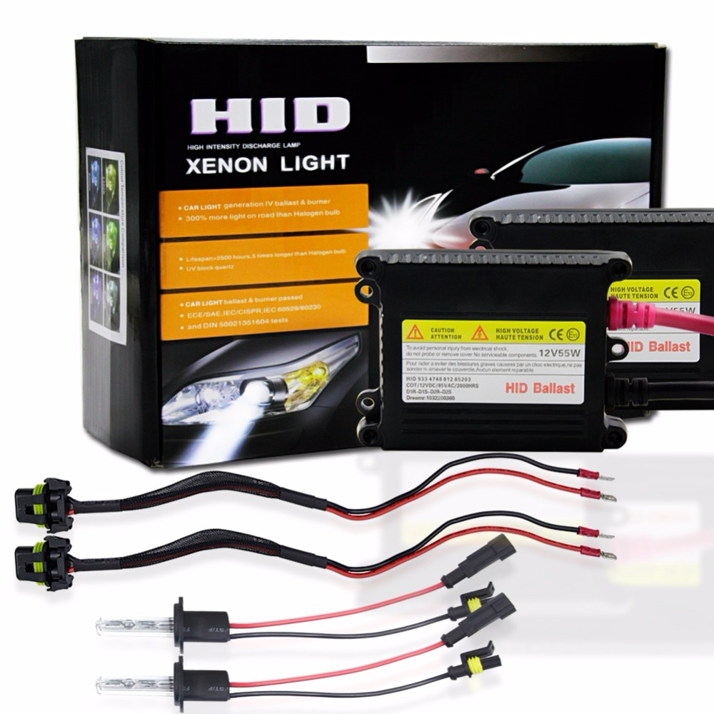 1 Set H1 H3 H7 H8 H9 H11 HID Xenon Headlight Conversion Kit H27 880 881 9005 HB3 9006 HB4 Car Xenon Light 55W 6000K 3000K 5000K<br>