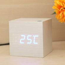 USB/AAA Powered Cube LED Digital Alarm Clocks Square Modern Wood Clock Thermometer Temp Display Calendars Desk Table Clock S30(China)