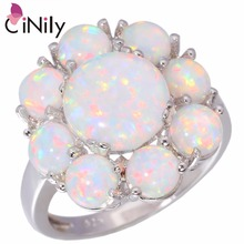 CiNily Created White Fire Opal Silver Plated Rings Wholesale Hot Sell Flower for Women Jewelry Gift Ring Size 5-11 OJ5058(China)