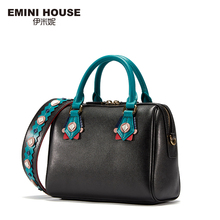 EMINI HOUSE Indian Style Boston Bag Split Leather Women Messenger Bag Luxury Handbags Women Bags Designer Shoulder Bags(China)