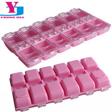 New Arrive 12 Detachable Pink Plastic Divided Storage Box Rhinestones Dired Flower Nail Art Products Container Case Nail Tools