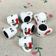 10 Pieces Flat Back Resin Cabochon Kawaii Miniature Cat Cup DIY Flatback Decorative Craft Scrapbooking Embellishment:15*20mm